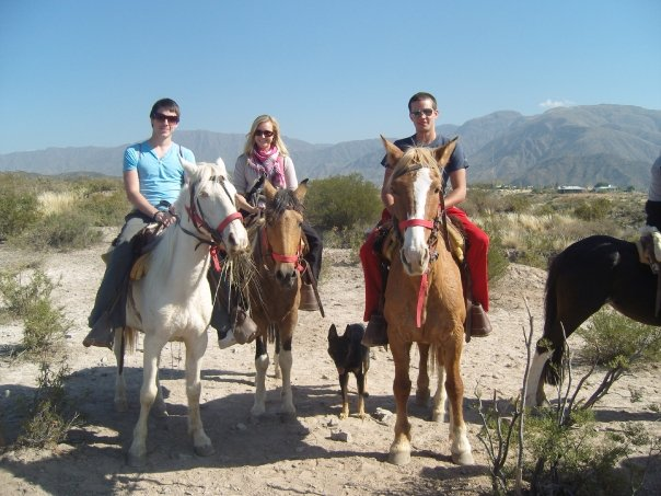 The three of us riding our horses in the Mendoza countryside